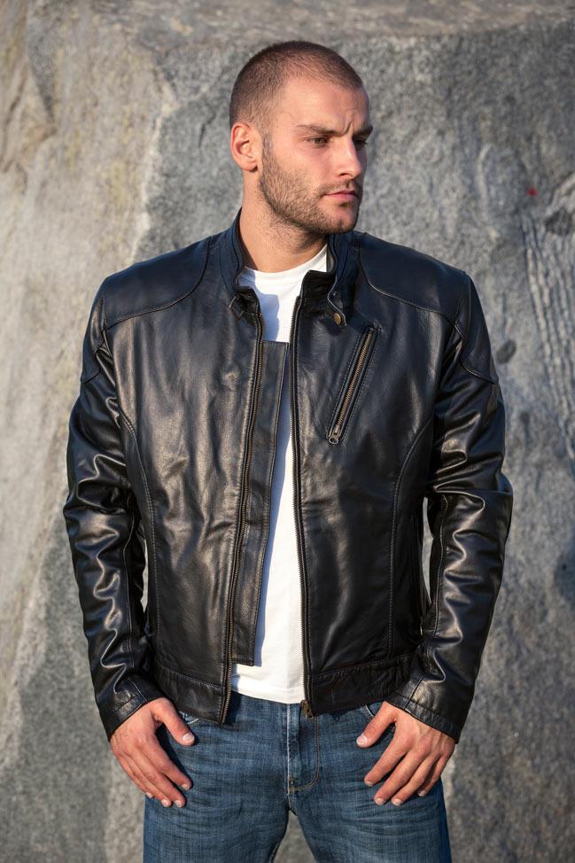 Muška kožna jakna - Alex TK- Crna