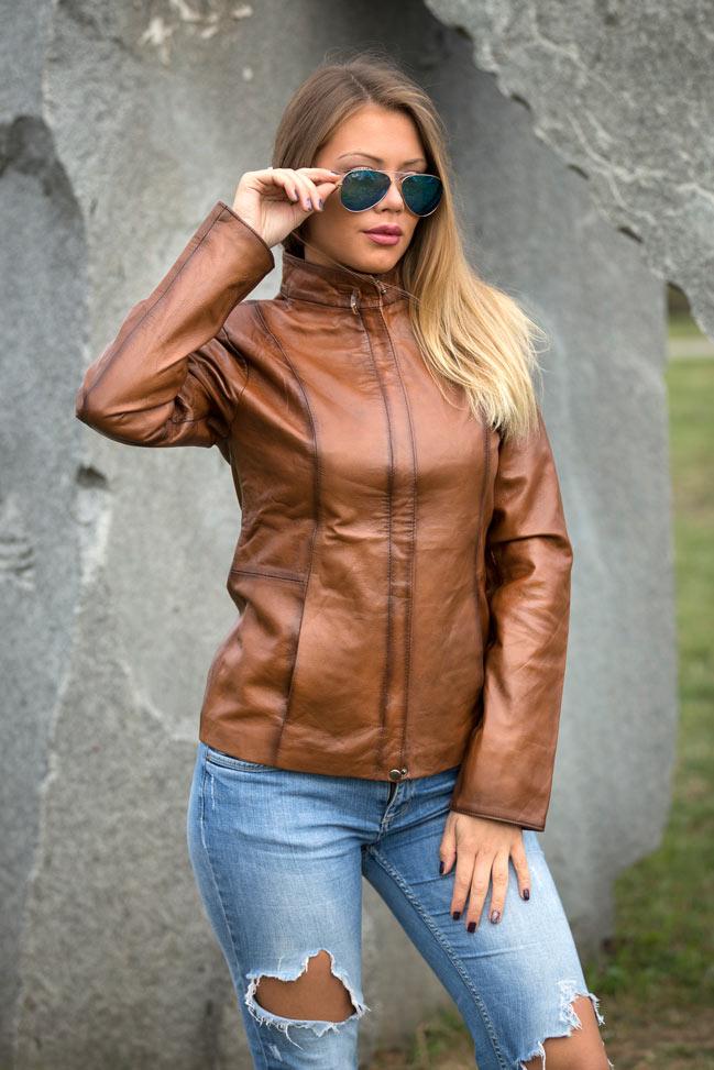 Ženska kožna jakna - Donna – Svetlo braon melirana