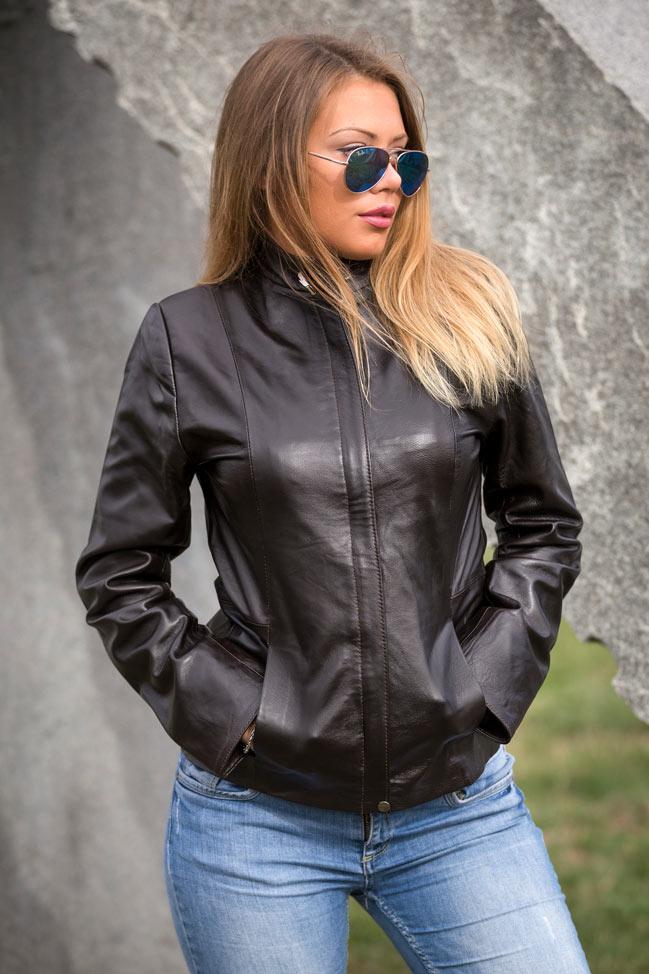 Ženska kožna jakna - Donna – Tamno braon