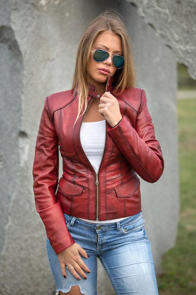 Ženska kožna jakna - Julia - Bordo melirana