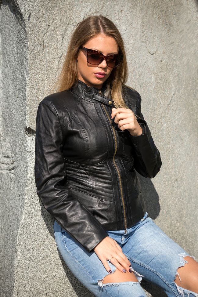 Ženska kožna jakna - Julia – Crna
