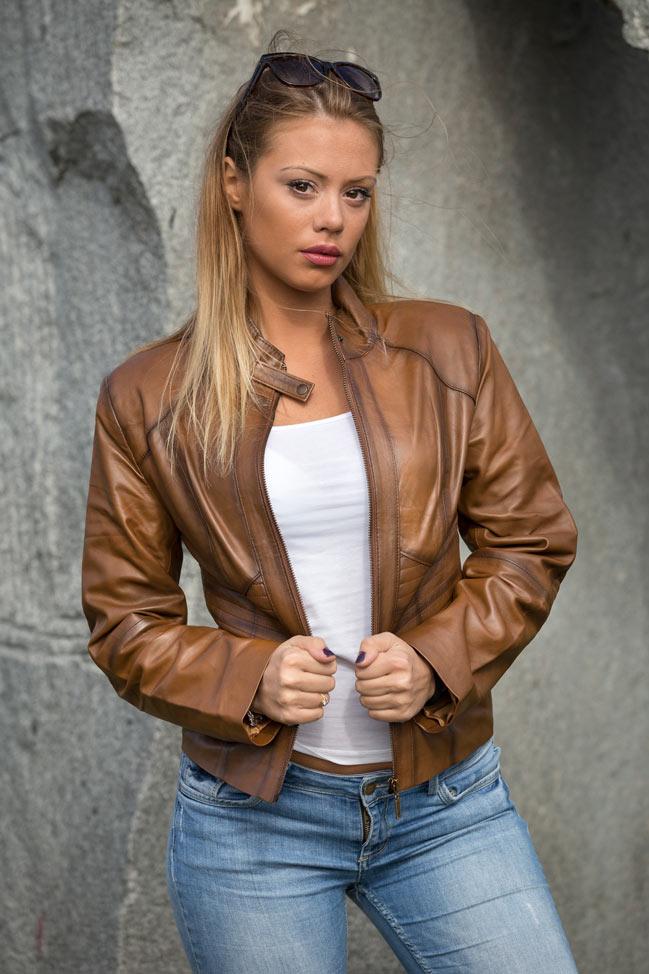 Ženska kožna jakna - Julia - Svetlo braon melirana