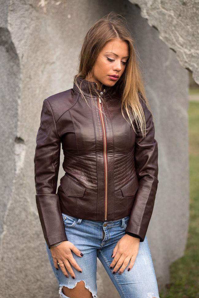 Ženska kožna jakna - Julia - Tamno braon