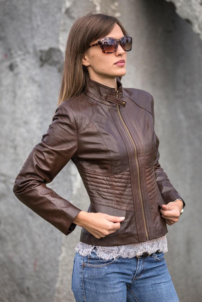 Ženska kožna jakna - Julia - Tamno braon melirana