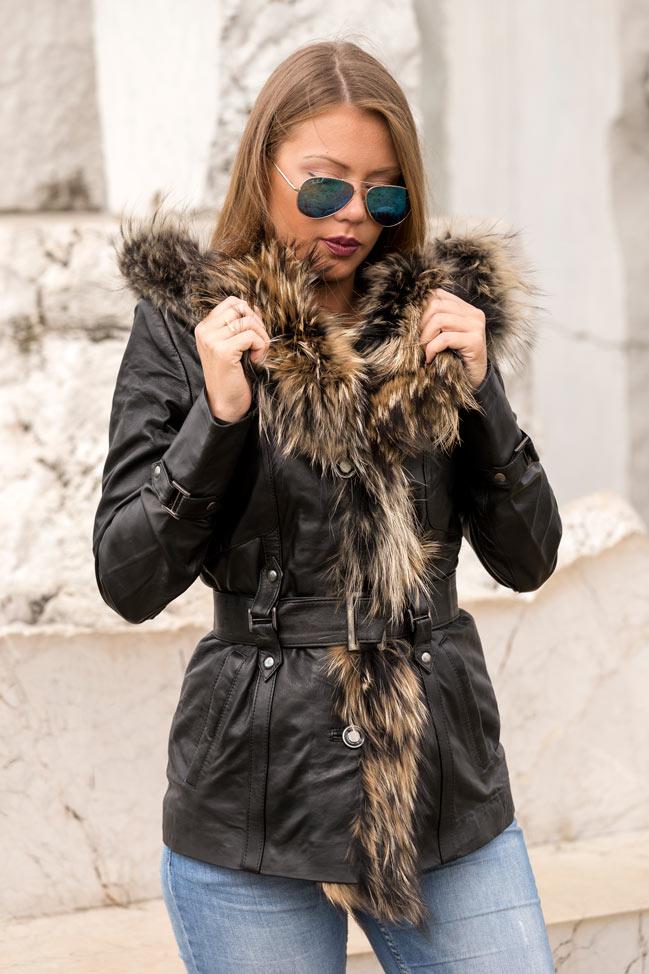 Ženska kožna jakna sa krznom - - Claudia - Crna, natur krzno