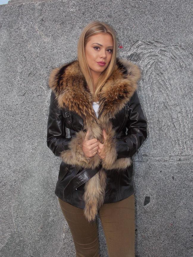 Ženska kožna jakna sa krznom - Isabella - Braon, natur krzno