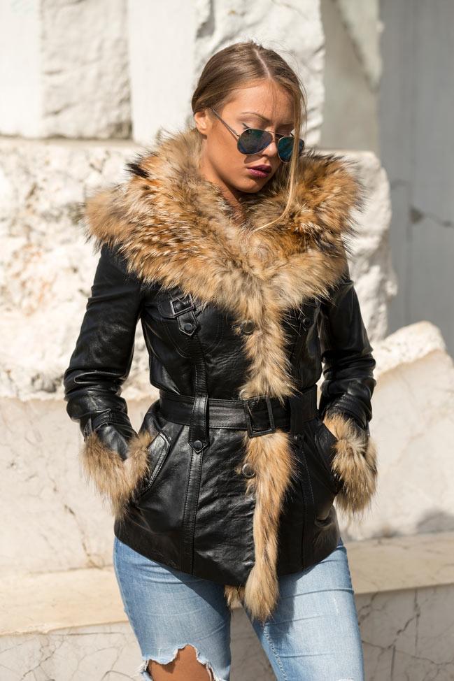 Ženska kožna jakna sa krznom - Isabella - Crna, natur krzno