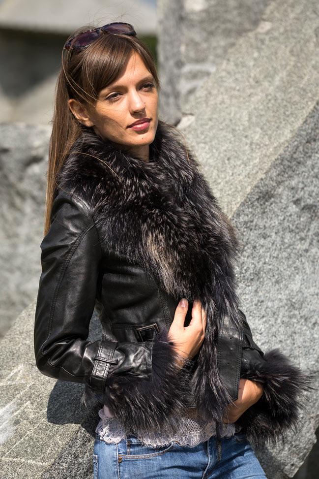 Ženska kožna jakna sa krznom - Pamela - Crna, crno krzno