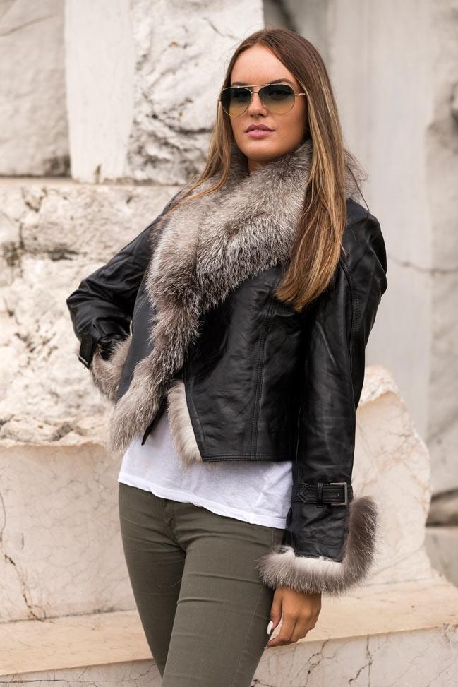 Ženska kožna jakna sa krznom - Pamela - Crna, krzno od polarne lisice