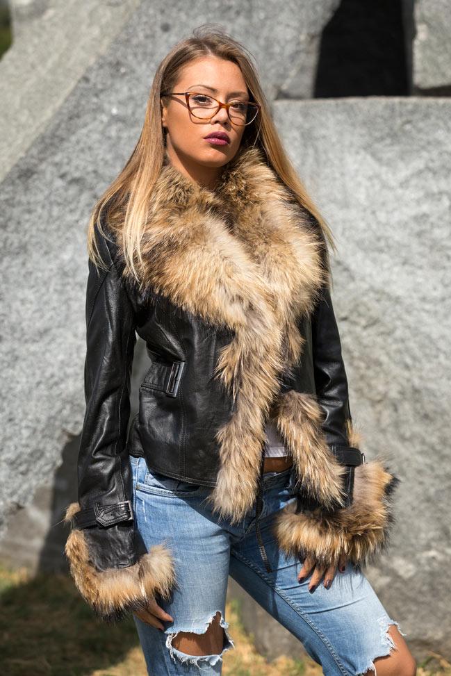 Ženska kožna jakna sa krznom - Pamela - Crna, natur krzno