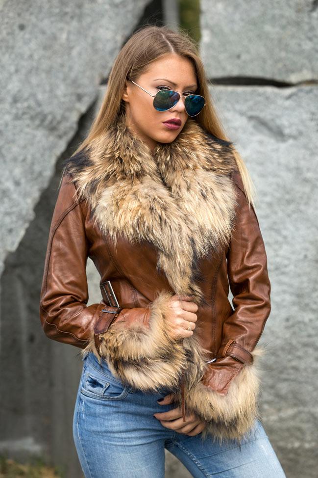Ženska kožna jakna sa krznom - Pamela - Svetlo braon - melirana, natur krzno