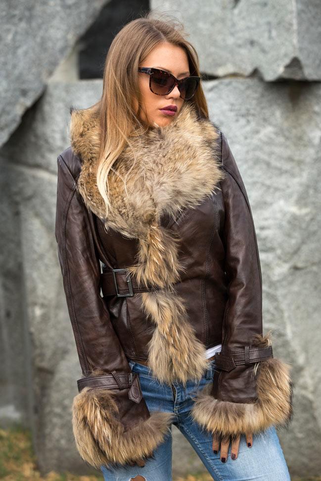 Ženska kožna jakna sa krznom - Pamela - Tamno braon - melirana, natur krzno