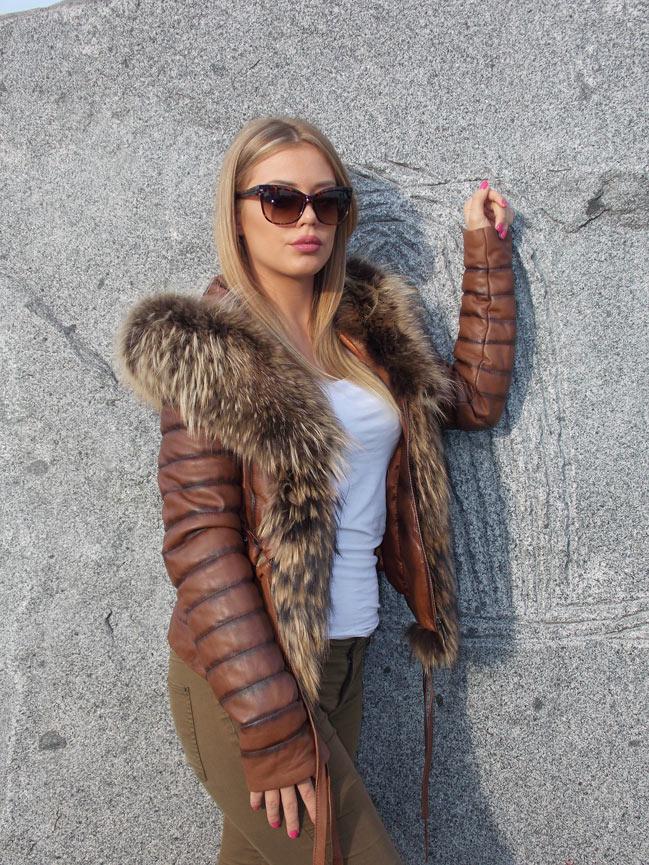 Ženska kožna jakna sa krznom - Stephanie - Braon melirana, natur krzno