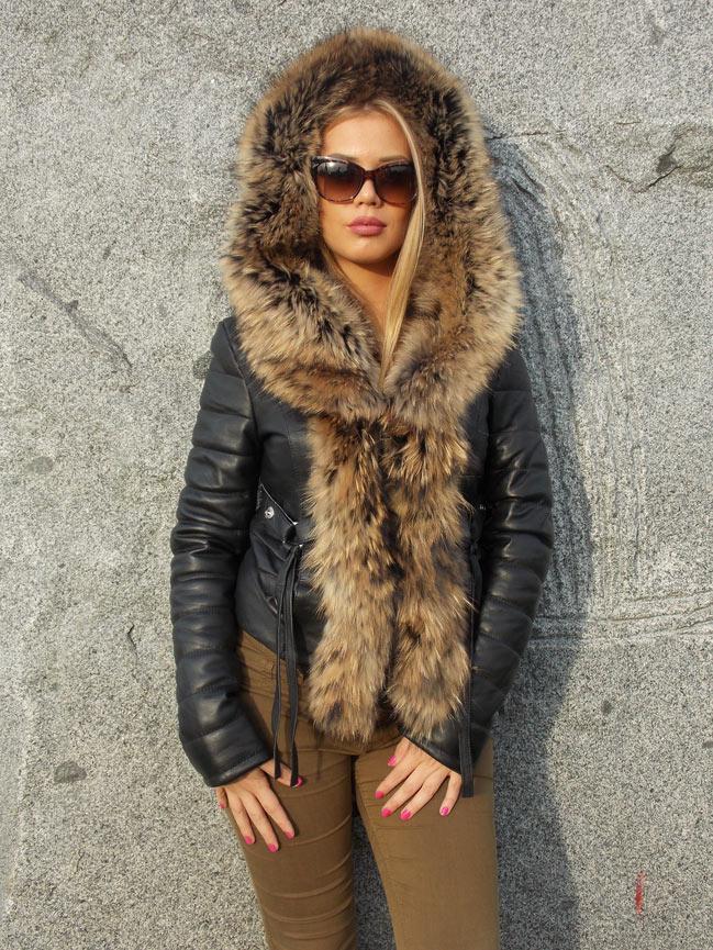 Ženska kožna jakna sa krznom - Stephanie - Crna, natur krzno