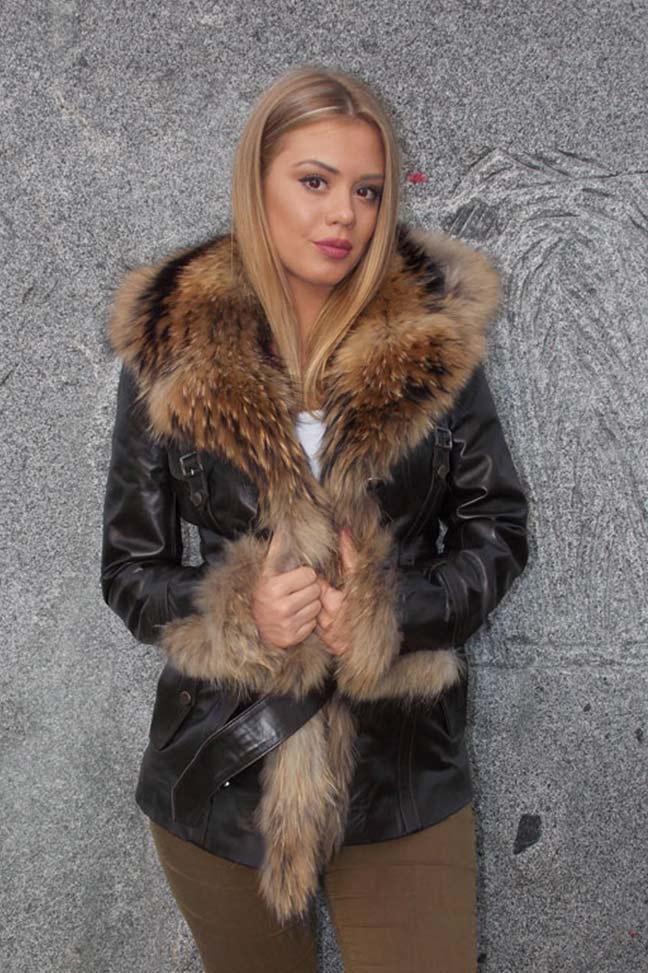 Ženska kožna jakna sa krznom-Isabella-Braon,natur krzno-1