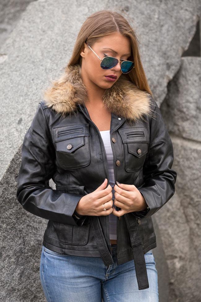 Ženska kožna jakna sa krznom - Manuela - Crna, natur krzno