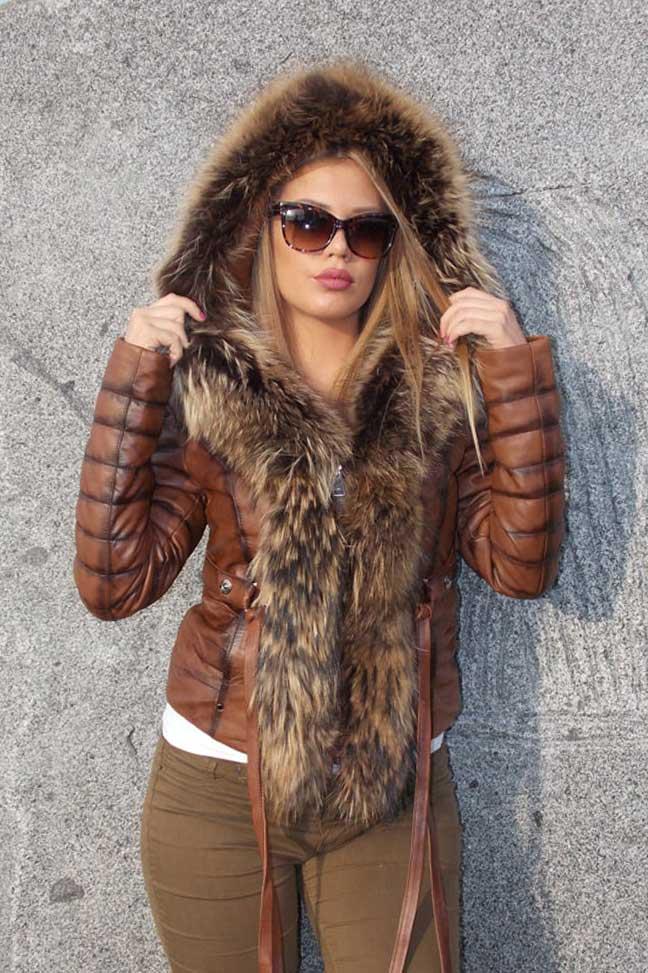 Ženska kožna jakna sa krznom-Stephanie-Braon melirana-natur krzno-1