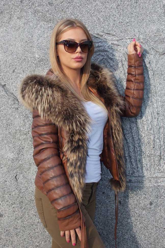 Ženska kožna jakna sa krznom-Stephanie-Braon melirana-natur krzno-2