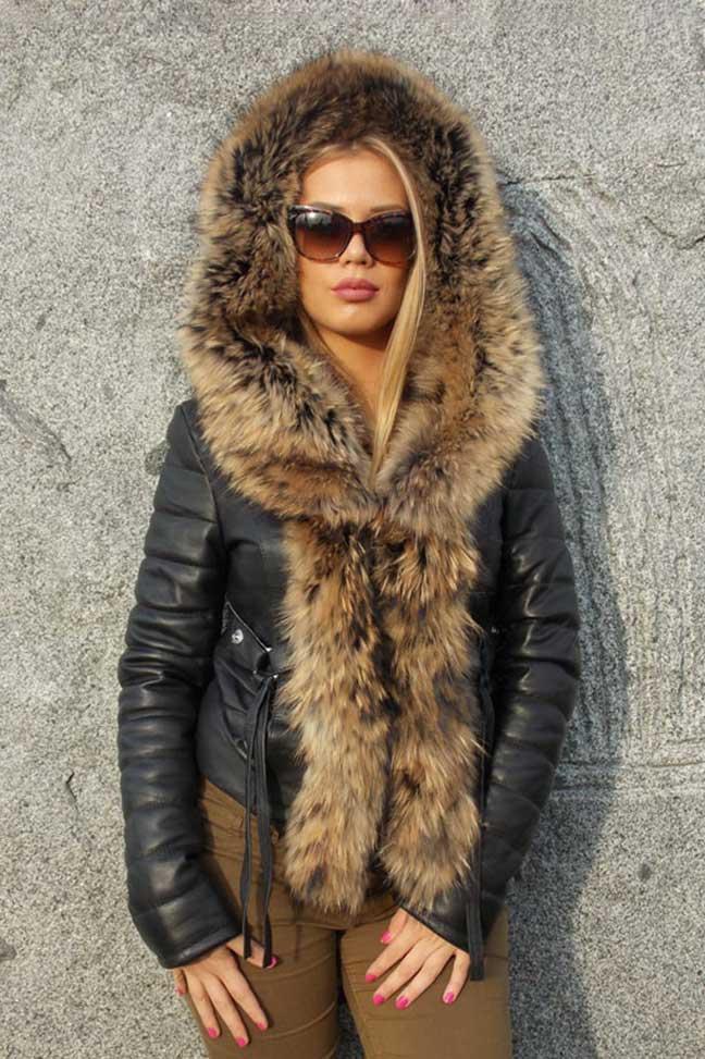 Ženska kožna jakna sa krznom-Stephanie-Crna, natur krzno-1