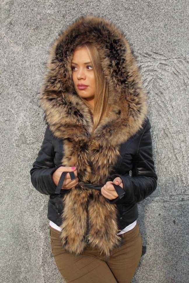 Ženska kožna jakna sa krznom-Stephanie-Crna, natur krzno-2