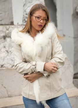 Kožna jakna sa krznom Claudia (bež)