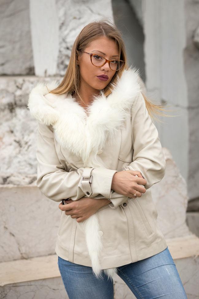 Kožna jakna sa krznom Claudia bež natur krzno