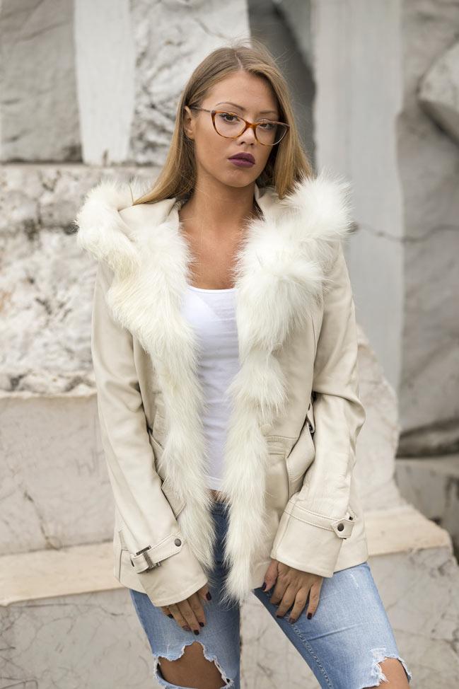 Kožna jakna sa krznom Claudia bež natur krzno 2