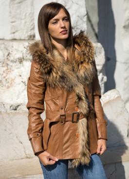 Kožna jakna sa krznom Claudia (svetlo braon)