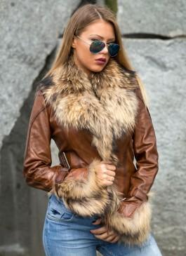 Kožna jakna sa krznom Pamela (svetlo braon melirana)