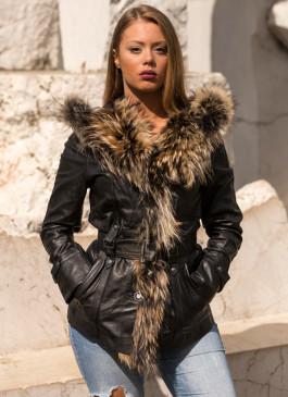 Kožna jakna sa krznom Claudia (crna)