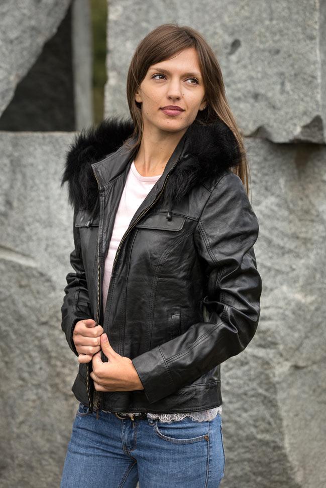Kožna jakna Emily crna 2