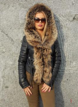 Kožna jakna sa krznom Stephanie (crna)