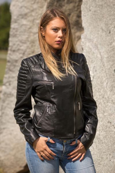 Kožna jakna Victoria crna