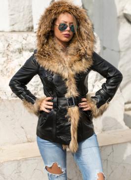 Kožna jakna sa krznom Isabella (crna)