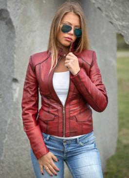 Kožna jakna Julia (bordo melirana)