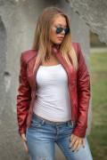 Kožna jakna Julia crvena melirana 2