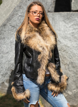 Kožna jakna sa krznom Pamela (crna)