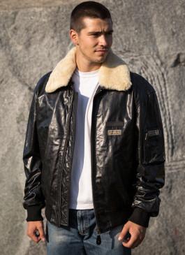 Kožna pilotska jakna Gordon (crna)
