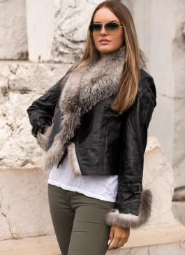 Kožna jakna sa krznom Pamela (crna - polarna lisica)