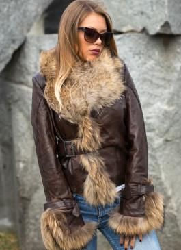 Kožna jakna sa krznom Pamela (tamno braon)