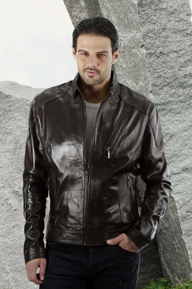 Muška kožna jakna - Alex - Tamno braon