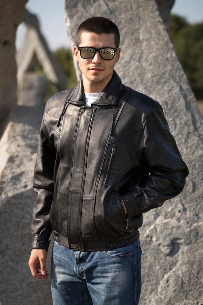 Muška kožna jakna - Bokserica - D. N. JK - Crna