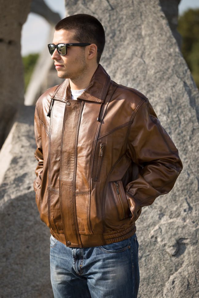 Muška kožna jakna - Bokserica - D. N. - Svetlo braon melirana