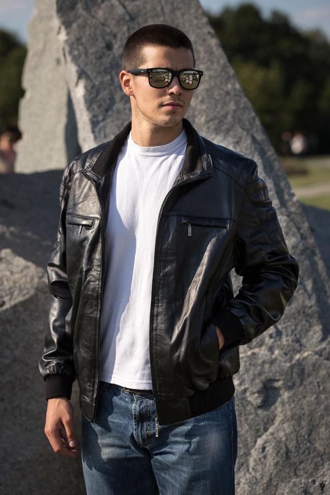 Muška kožna jakna - Bokserica - Harley - Crna
