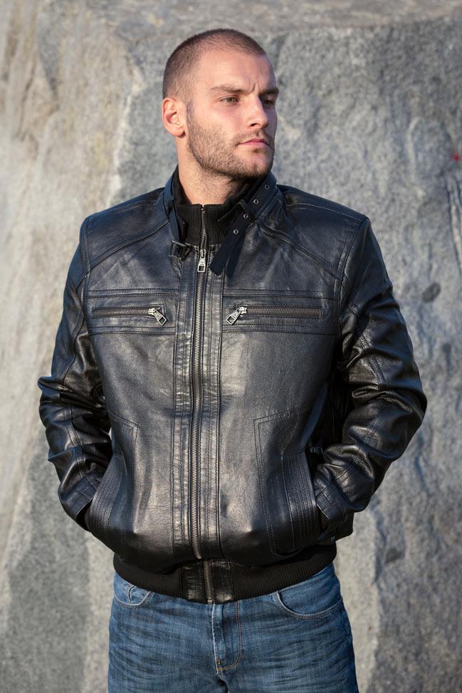 Muška kožna jakna - Bokserica - Springfield - Crna