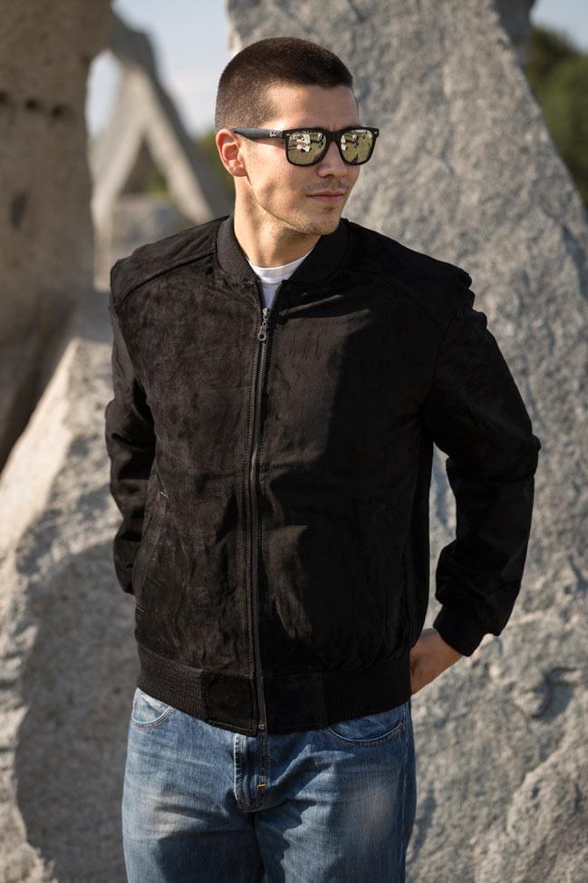 Muška kožna jakna - Bokserica - Stanley - Crna velur