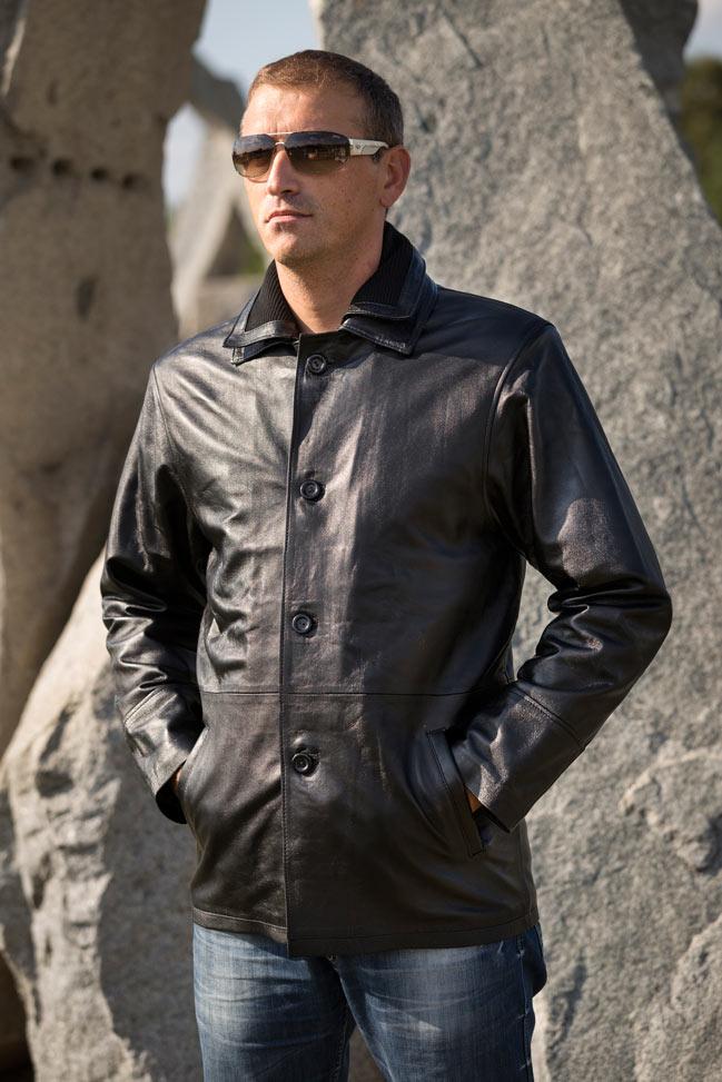 Muška kožna jakna - Brando - Crna