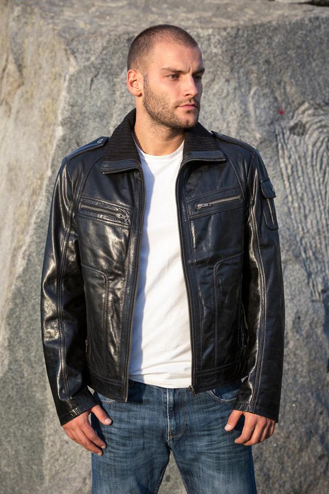 Muška kožna jakna - Dilan - Crna