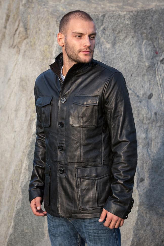 Muška kožna jakna - Hugo - Crna