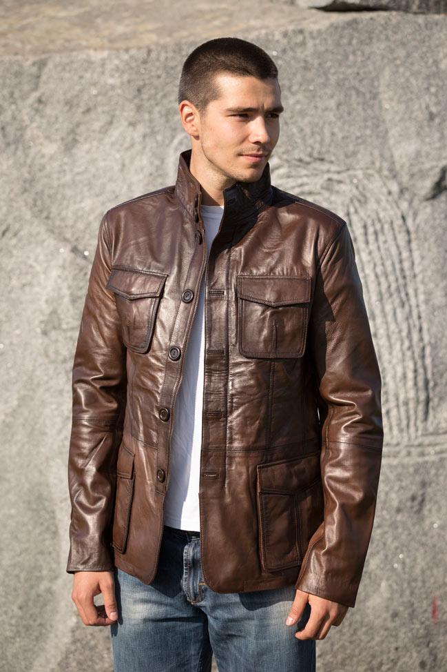 Muška kožna jakna - Hugo - Tamno braon melirana
